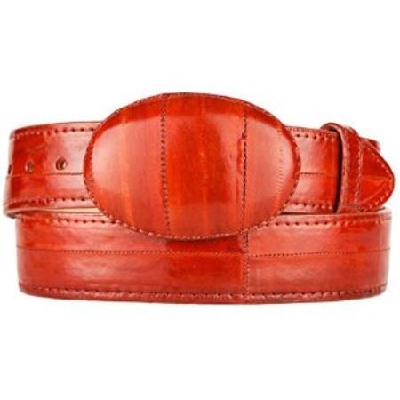 Original Eel Skin Western Style Belt Cognac
