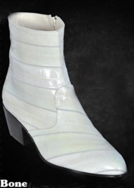 SKU#MAQ7918 Mens Full Eel Dressy Boots W/Zipper in Brown, Black, Gray, Bone, Burgundy ~ Maroon ~ Wi