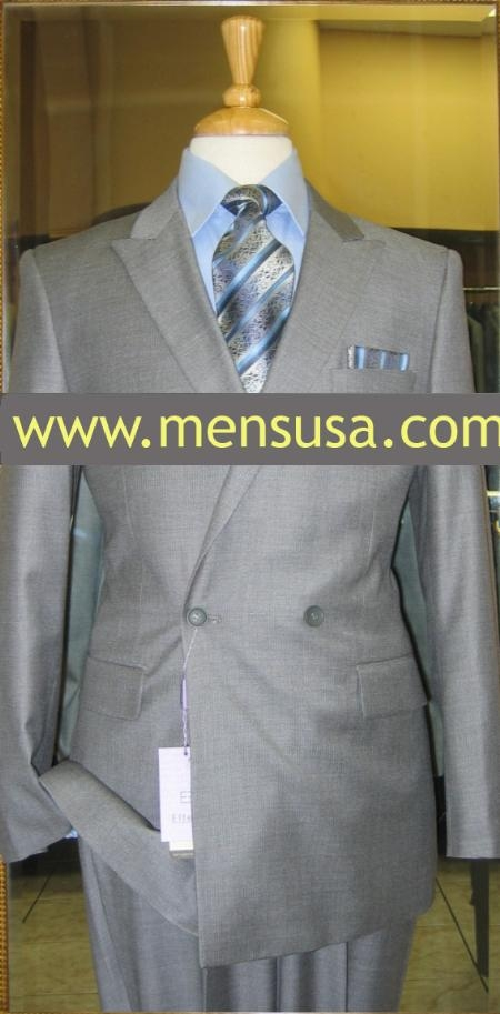 SKU#RP9376 Effetti Four Button Double Breasted Suit Grey $199