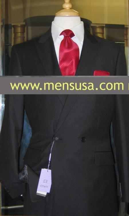 SKU#UZ9207 Effetti 4 button style Double Breasted Suit Black $199