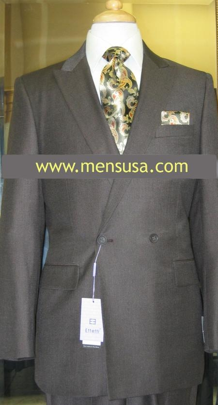 SKU#PL5704 Effetti 4 button style Double Breasted Suit Brown $199