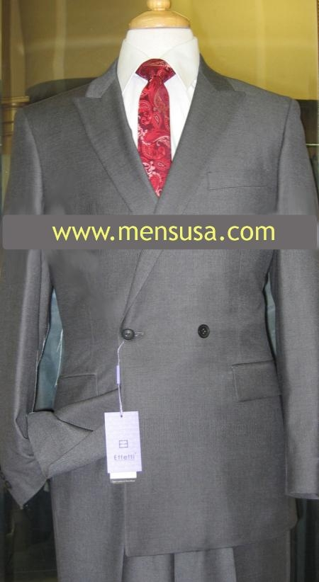 SKU#FU5260 Effetti 4 button style Double Breasted Suit Charcoal $199