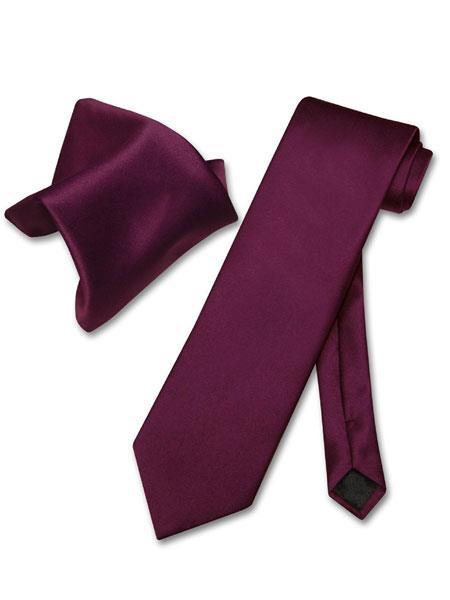Men's Eggplant Purple Solid Polyester Trendy Neck Ties And Hanky