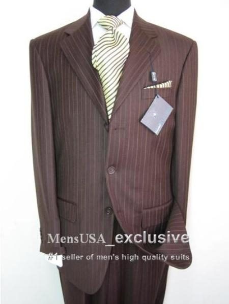 SKU# TnT199 Elegant Chocolate Brown Tone on Tone Shadow Stripe Super 140s Wool Suit $139