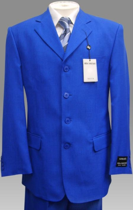 SKU# LDW823 Elegant Solid Royal Blue Mens Dress Suits $99
