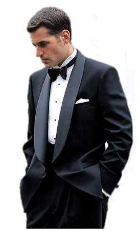 SKU#SH284 Elegant luxurious drape Plain back Black 1 Button shawl collar Tuxedo no vents $199