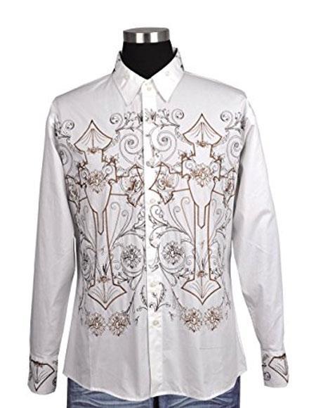 Men's White 100% Cotton Button Closure Embroidered Design Shirt