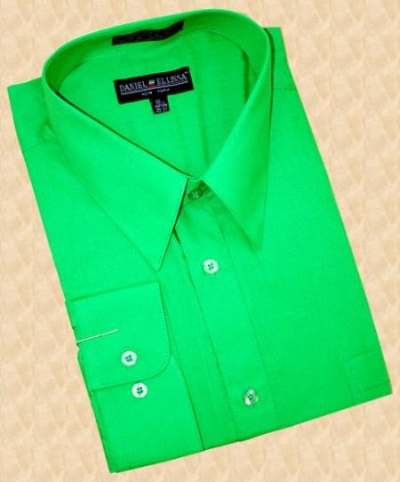 SKU#RP971 Emerald Green Cotton Blend Dress Shirt With Convertible Cuffs $39
