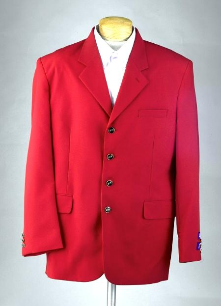 SKU# MUZDA Excluive 3or4 Button Mens Dress Blazer with Metal Buttons in Red Colors $79