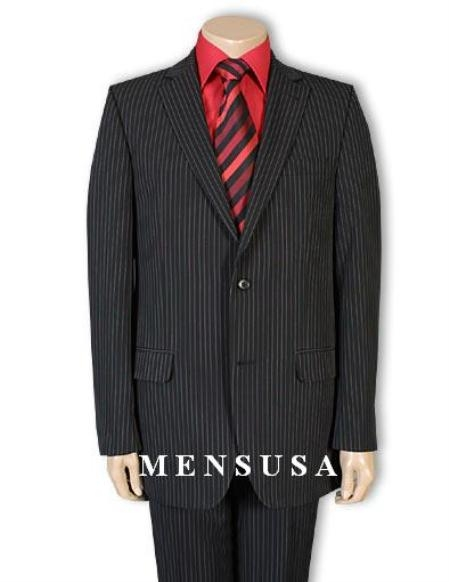 SKU# ZG2 Exclusive Simple & Classy Black Pinstripe Mens Vinci 2 Button Suit  $89