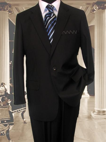 SKU#AS341 Exclusive Black 1 Button Suit Hand Made Notched lapel Pleated Pants $174