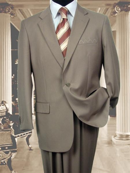 SKU#AS341 Exclusive 1 One Tan 1 Button Suit Hand Made Notched lapel $149
