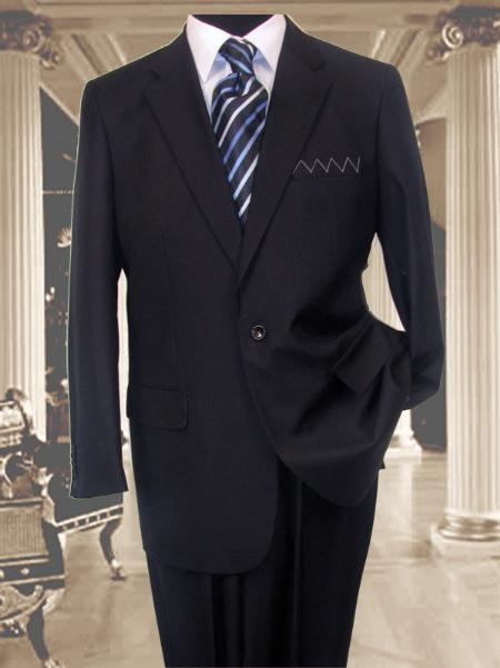 SKU#AS341 Exclusive 1 One Navy Blue 1 Button Suit Hand Made Notched lapel