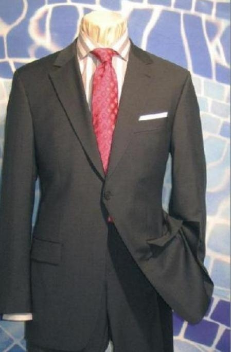 SKU#AS341 Exclusive Charcoal Gray 1 Button Style Suit Hand Made Notched lapel Pleated Pants