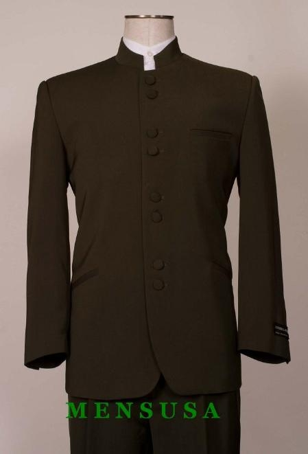 SKU#M78 Exclusive  Dark Olive Green 8 Button Mandarin banded collar Nehru Style  No Collar