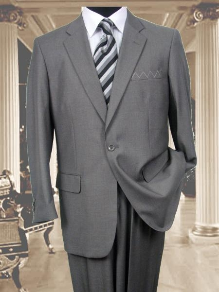 SKU#AS341 Exclusive Light Gray 1 Button Suit Hand Made Notched lapel $174