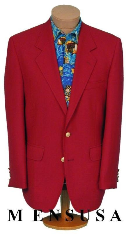 SKU# BR21 Exclusive Mens 2 Button Stunning RED DINNER BLAZER SUIT JACKET (Men + Women) $139