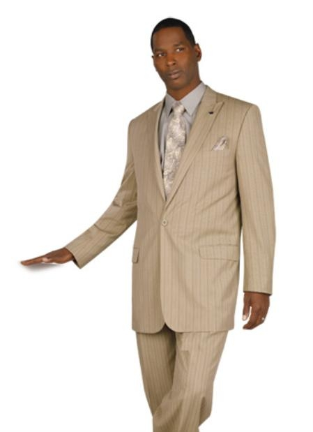 SKU#HL712 Exclusive One Button Pinstripe Suit in 6 Colors $89