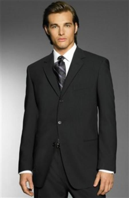 SKU# ZL77 Exclusive Simple & Classy Smooth Solid Black Mens 3 Button premier quality italian fabric Design  $175