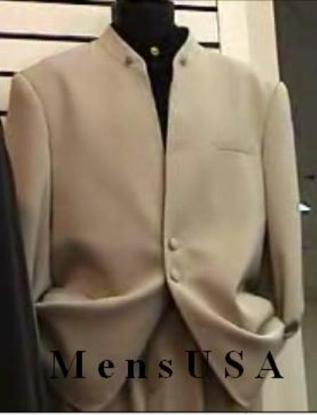 SKU# HHI270 Exclusive Style Tan ~ Beige~Taup~khaki  Mandarin Collar With 2 Button Front Style (can use tie with ) $149