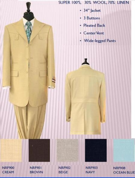 NRF9 Exclusive Styling 34 Inch Jacket Peak Lapel 3 Button Wide Leg Pants Center Vent 5 Colors $169