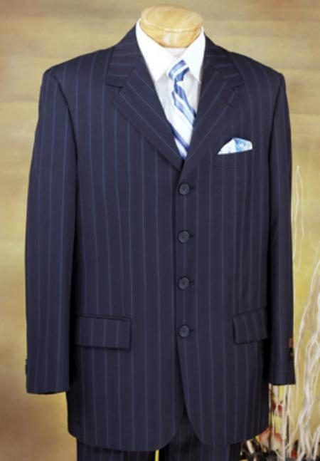 SKU# ERG339 Executive 4 Button Navy Pinstripe Suit with High Notched Lapels