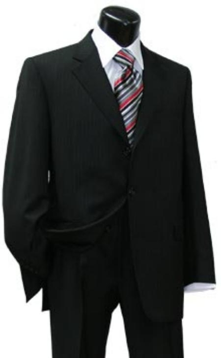 SKU# ZCEO Executive Black Super 140s Wool premier quality italian fabric Design 2/3 Button Suit With Double Vent Jacket $139