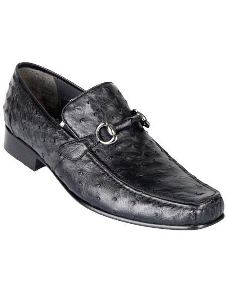 Los Altos Mens Stylish Black Exotic Ostrich Slip-On Classic Dress Shoes