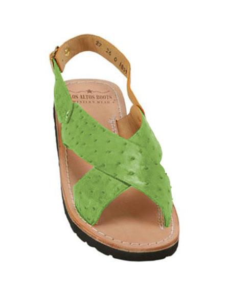 Mens Exotic Skin Lime-Green Sandals in ostrich or World Best Alligator ~ Gator Skin or Stingray skin in White or Black or Red or Tan or Brown or Copper or Olive colors