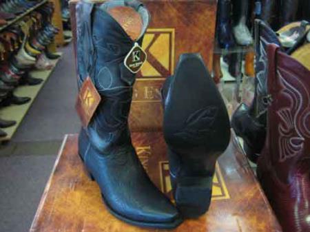 King Exotic Snip Toe Genuine Shark Western Cowboy Boot EE Black