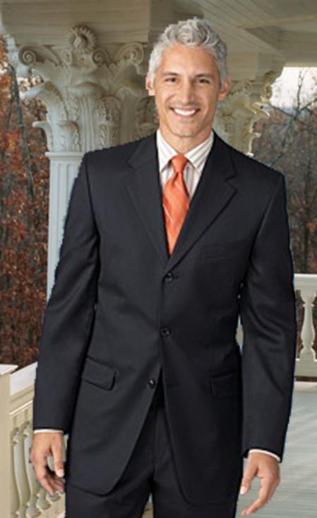 SKU#RT441 Extra Long 2PC Solid Color Charcoal Mens Suit