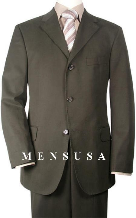 SKU# PTU471 Extra Long Dark Olive Green Suits in Super 150s premeier quality italian fabric Wool Suit MensUSA Exclusive Line, Vented $199