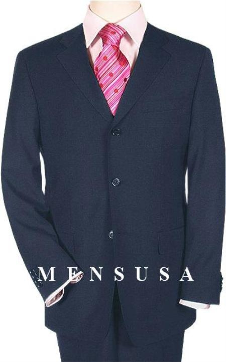 SKU# QRE438 Extra Long Navy Blue Suits in Super 150s premier quality XL Tall Man Available in 2 button Style only Suit MensUSA Exclusive Line, Vented $199