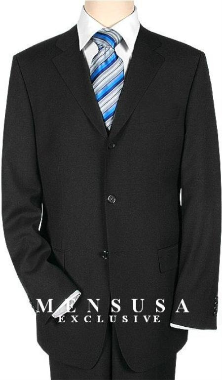 SKU# YAG538 Extra Long Simple & Classy Liquid Black Suits in Super 150s premier quality italian fabric Wool Suit MensUSA Exclusive Line