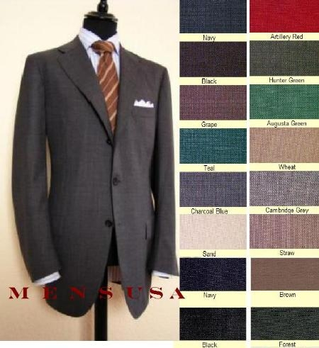 SKU#TJ33 Super Extra 100% Wool Pleated 3Button Suits No Back Vent (non closed back vents) in 9 Colors