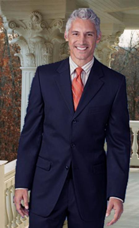 SKU#MH331 Extra Long 2PC Solid Color Navy Mens Suits in Super 150s Extra Fine Wool $179