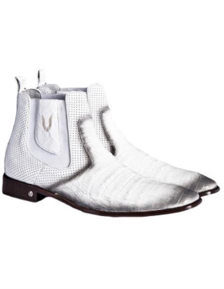 Mens Faded White Vestigium Genuine Caiman Belly Chelsea Boots