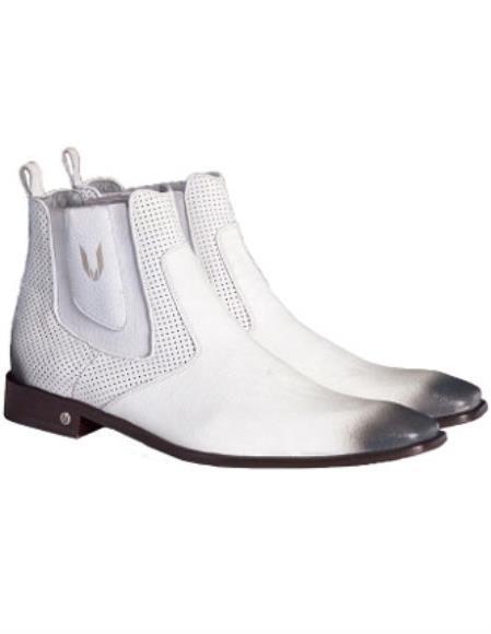 Mens Handcrafted Faded White Vestigium Genuine Catshark Chelsea Boots