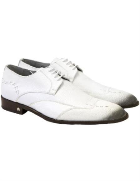 Mens Faded White Vestigium Genuine Catshark Derby Shoes