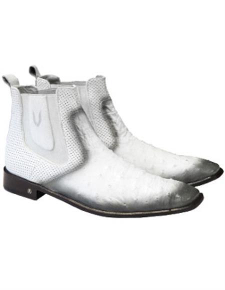 Mens Faded White  Vestigium Genuine Ostrich Chelsea Boots