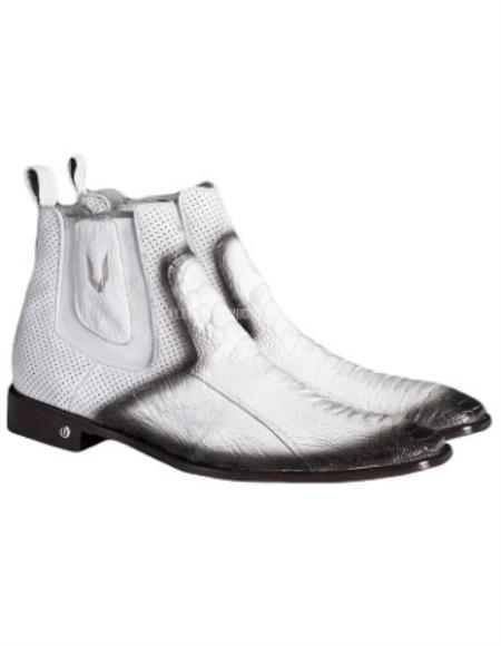 Mens Handmade Faded White Vestigium Genuine Ostrich Leg Chelsea Boots