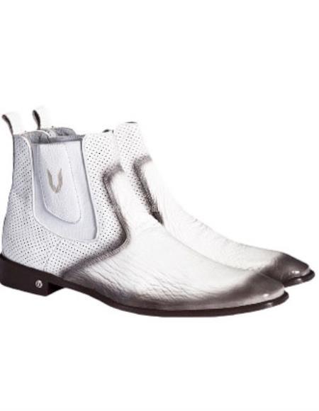SKU#SS-6788 Mens Faded White Vestigium Genuine Sharkskin Chelsea Boots