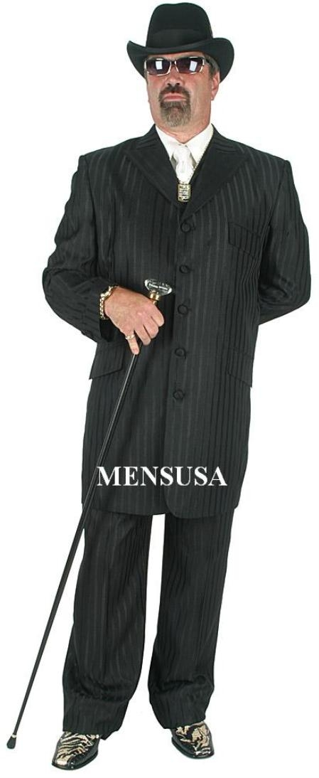 SKU# VIH880 Famouse Black Ton on Ton Shadow Pinstripe Fashion Long Suits $139