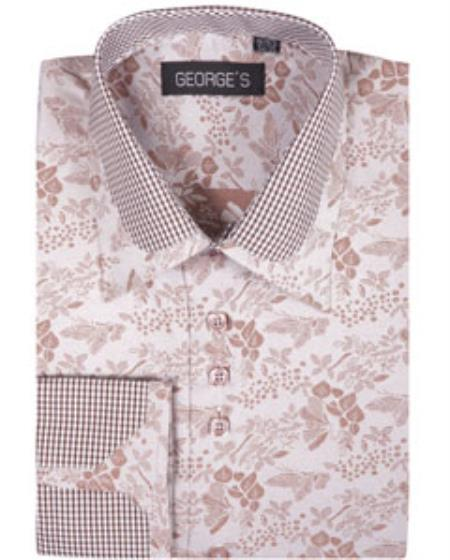 High Collar Club Style Brown Pattern George Shirts