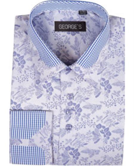 Men's High Collar Club Style Lavender Pattern Shirts