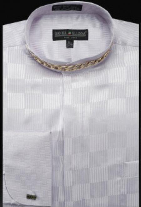 SKU#RZ679 Fancy Banded Collar French Cuff Shirt Lilac $950