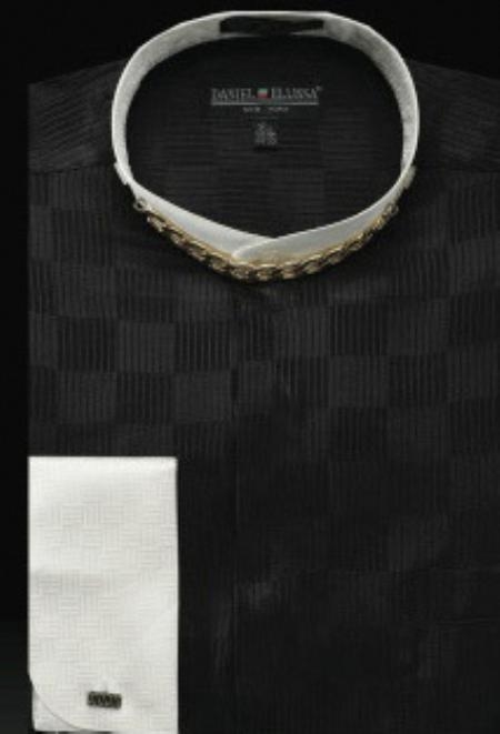 SKU#BK809 Fancy Banded Collar French Cuff Shirt Black/Ivory $950