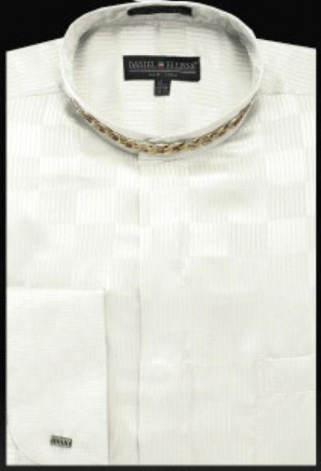 SKU#GM409 Fancy Banded Collar French Cuff Shirt Ivory $950