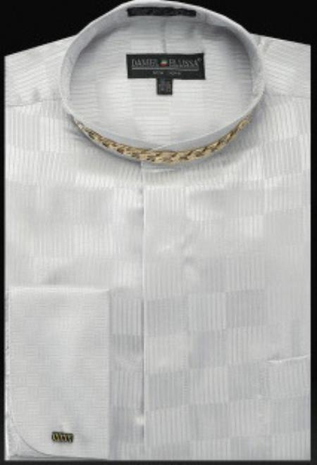 SKU#EM321 Fancy Banded Collar French Cuff Shirt Silver $950