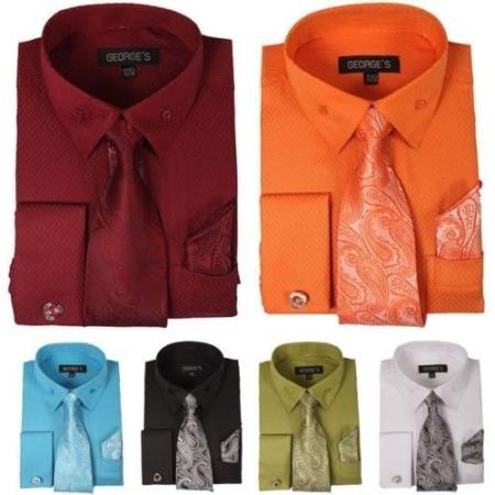 Mens Fashion Dress Shirt With Tie&Hanky French Cuff Links Style Multi-Color